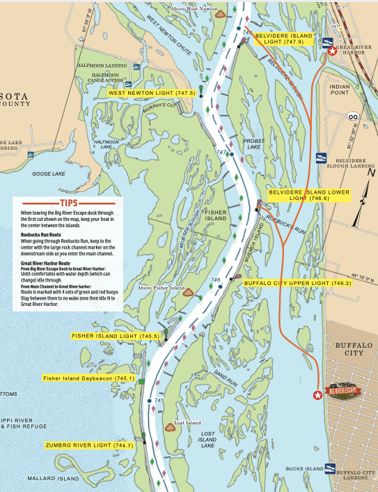 Map from Big River Escape dock to Mississippi River main channel
